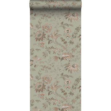 Tapete Blumenmuster Mintgrün und Hellrosa