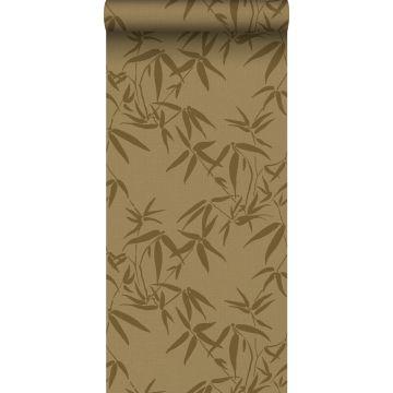Tapete Bambusblätter Ockergelb
