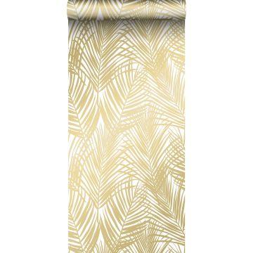 Tapete Palmblätter Gold und Weiß