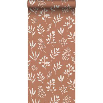 Tapete Blumenmuster im skandinavischen Stil Terracotta und Weiß
