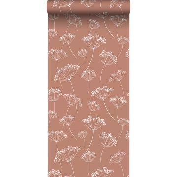 Tapete Doldenblütler Terracotta und Weiß