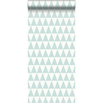 Tapete grafische, geometrische Dreiecke Pastell Mintgrün und Weiß