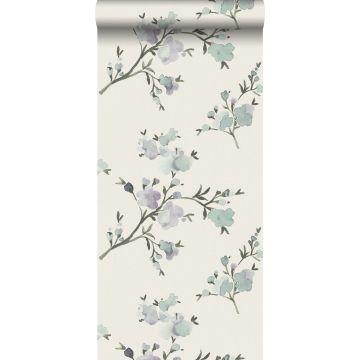 Eco Texture Vliestapete Kirschblüten Beige und Violett