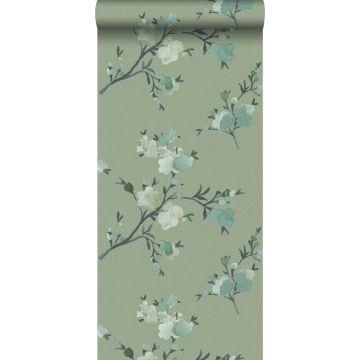 Eco Texture Vliestapete Kirschblüten Grün