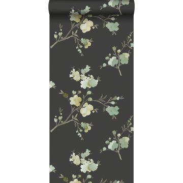 Eco Texture Vliestapete Kirschblüten Grün, Ockergelb und Schwarz