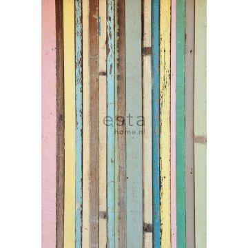 Fototapete Holz-Optik Hellrosa, Gelb, Blau und Grün