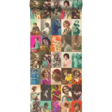 XXLVliestapete vintage alte Postkarten mit Damengesichtern Mehrfarbig