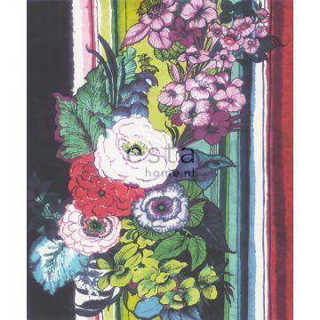 Fototapete Blumen Schwarz, Rot, Blau, Weiß und Grün