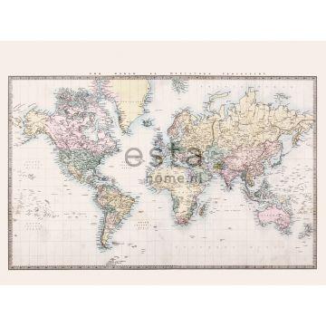 Fototapete Weltkarte im Vintage-Look Beige, Pastellgelb, Puderrosa und Grün