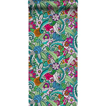 XXLVliestapete Blumenmandalas Rosa, Grün, Orange, Lila und Blau