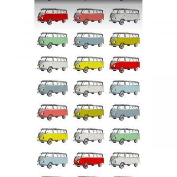 XXLVliestapete Vintage Volkswagen Transporter Gelb, Blau, Grau, Rot und Grün