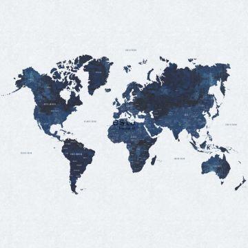 Fototapete Weltkarte im Vintage-Look Blau