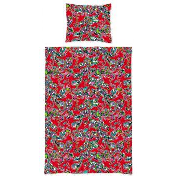 Einpersonen Bettwäscheset funky Blumen und Paisleys Rot