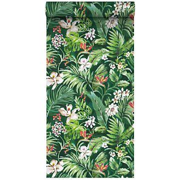 XXLVliestapete tropische Blätter und Blüten Emeraldgrün