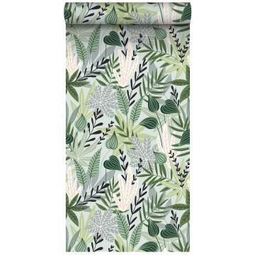 XXLVliestapete Blätter im skandinavischen Stil Mintgrün