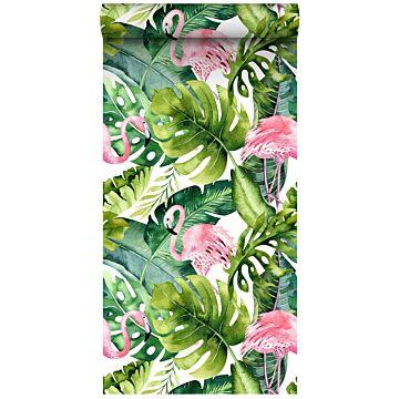 XXLVliestapete tropische Blätter mit Flamingos Grün und Rosa