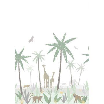 Fototapete Dschungeltiere Grün, Grau und Braun
