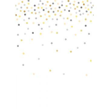 Fototapete Konfetti Punkte Gelb und Grau