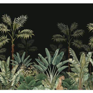 Fototapete Dschungelmuster Schwarz und Graugrün