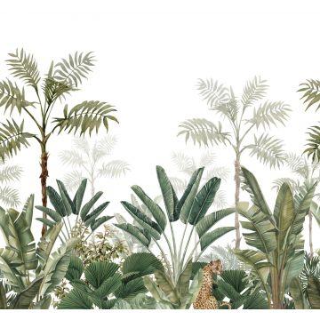 Fototapete Dschungelmuster Weiß und Olivgrün