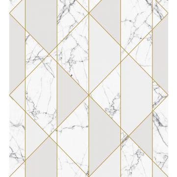 Fototapete Marmor-Optik Schwarz-Weiß, Grau und Gold