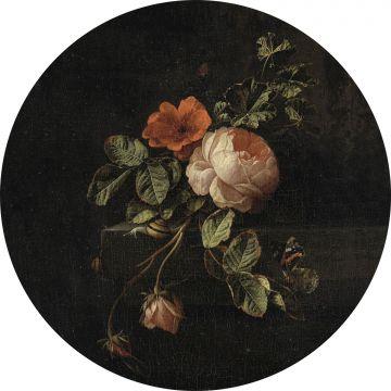 selbsklebende runde Tapete Blumenstillleben Dunkelrot und Schwarz