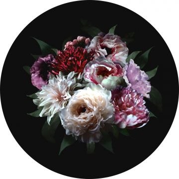 selbsklebende runde Tapete Blumenstillleben Mehrfarbig und Schwarz