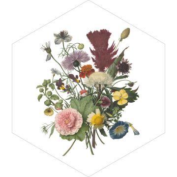 selbsklebende Wandtattoo Blumenstrauß Grün, Rosa und Gelb