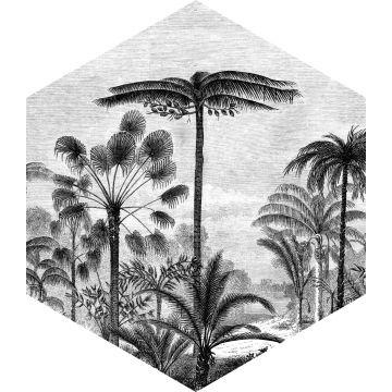 selbsklebende Wandtattoo tropische Landschaft mit Palmen Schwarz-Weiß