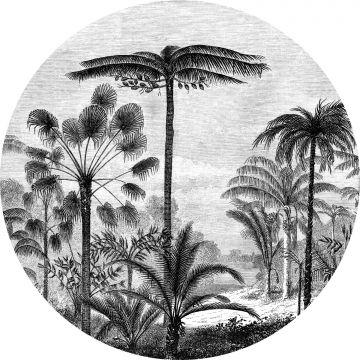 selbsklebende runde Tapete tropische Landschaft mit Palmen Schwarz-Weiß