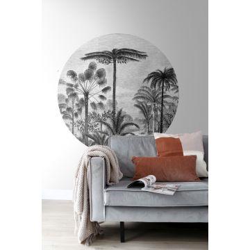Wohnzimmer selbsklebende runde Tapete tropische Landschaft mit Palmen Schwarz-Weiß 159006