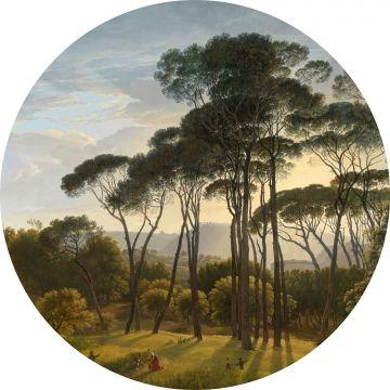 selbsklebende runde Tapete italienische Landschaft Dunkelgrün