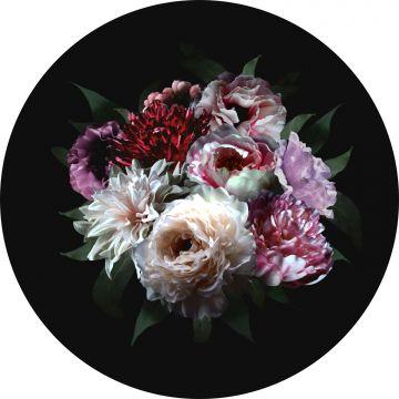 selbsklebende runde Tapete Blumenstillleben Multicolor auf Schwarz