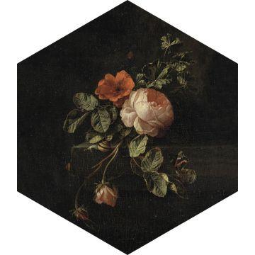 selbsklebende Wandtattoo Blumenstillleben Schwarz, Grün und Rosa