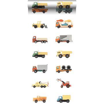 XXLVliestapete Lastwagen und Traktoren Gelb, Orange und Blau