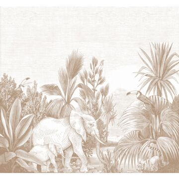 Fototapete Dschungelmuster Terracotta