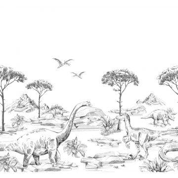 Fototapete Dinosaurier Schwarz-Weiß