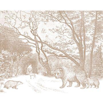 Fototapete Wald mit Waldtieren Terracotta