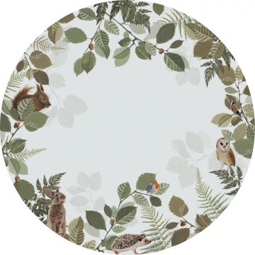 selbsklebende runde Tapete Waldtiere Grün und Braun