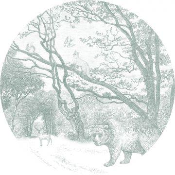 selbsklebende runde Tapete Wald mit Waldtieren Grün