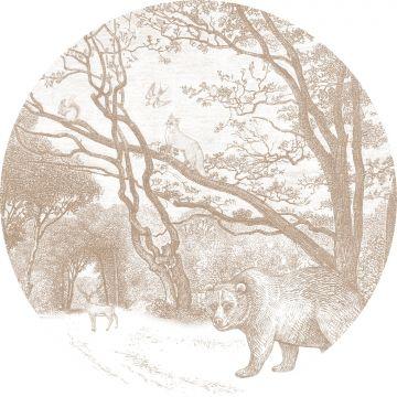 selbsklebende runde Tapete Wald mit Waldtieren Beigebraun