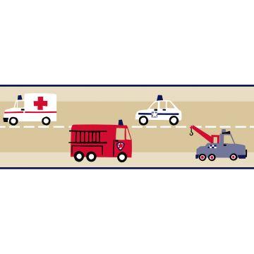 Tapetenborte Feuerwehrautos und Polizeiautos Beige, Rot und Blau