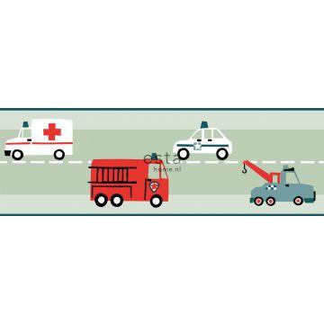 Tapetenborte Autos, Löschfahrzeuge, Hubschrauber und Kräne Mintgrün