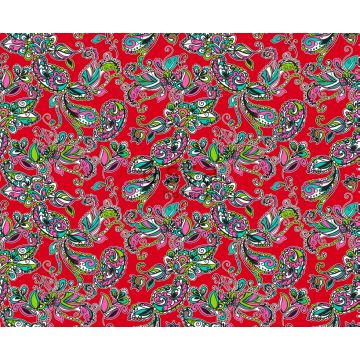 Stoff funky Blumen und Paisleys Rot